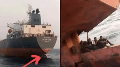 Lagos anchorage officials nab stowaways hiding at rudder of a ship heading for Spain (video)