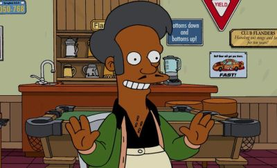 The character of Apu is seen in an episode of The Simpsons