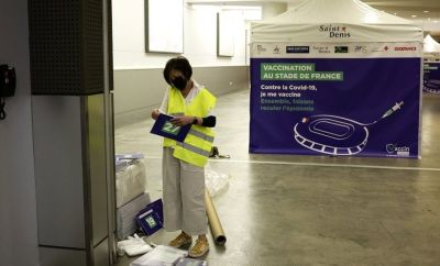 Tents for a COVID-19 vaccination centre are installed inside the national stadium of France, Stade De France, in Saint Denis, near Paris, France, 31 March 2021