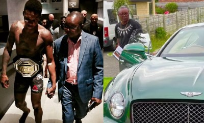 Nigerian MMA fighter, Israel Adesanya surprises his dad with a Bentley after he saw him admiring the car on his phone (video)