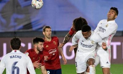 Eder Militao scores a header for Real Madrid