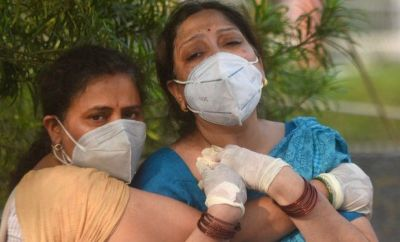 Relatives of a Covid-19 victim mourn outside Batra hospital, in Tughlakabad, on May 1, 2021 in New Delhi, India.