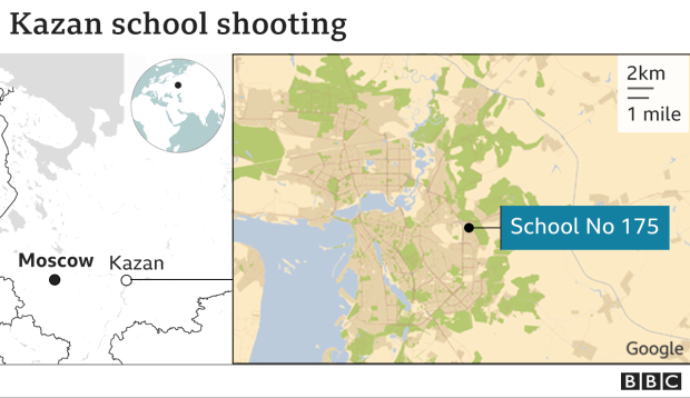 Map showing the location of the school in Kazan
