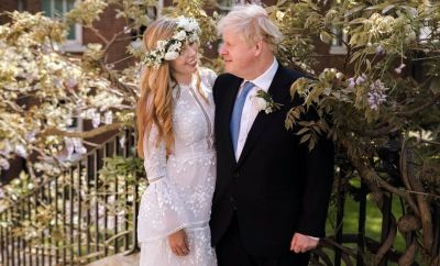 Boris Johnson and Carrie Symonds in the garden of 10 Downing Street after their wedding