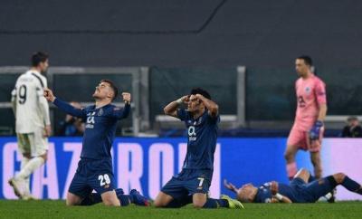 Porto players celebrating after beating Juventus