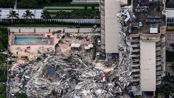 Aerial shot of collapsed block