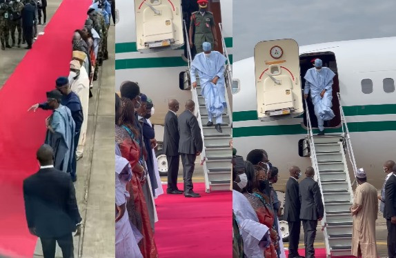 President Buhari arrives Lagos for commissioning of projects (video)