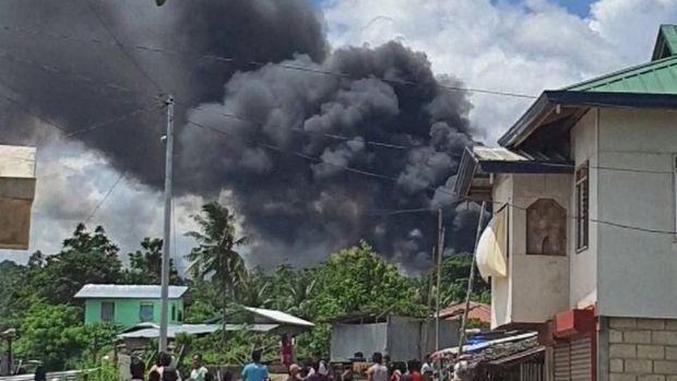 Philippines military transporter crash site on Jolo island, 4 July 2021