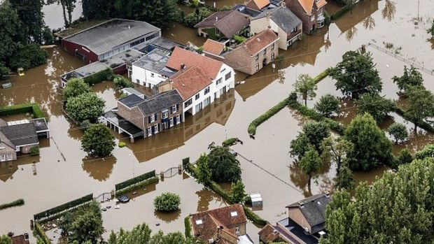 An aerial view of Valkenburg shows the flooded area around the Meuse