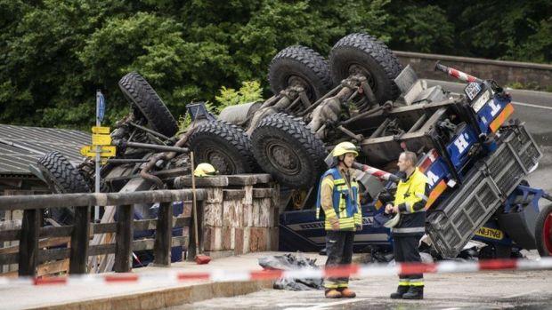 Overturned vehicle in Berchtesgaden, Bavaria