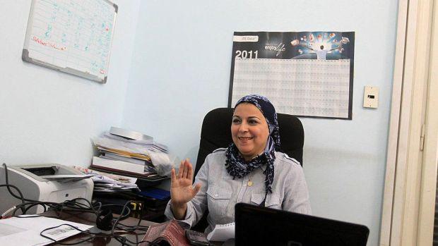 Egyptian political activist Esraa Abdel Fattah in office on October 2, 2011