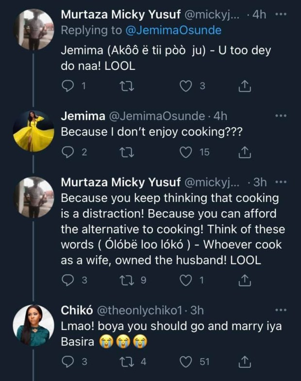 Actress Jemima Osunde tackled for saying she wouldn?t cook when she gets married