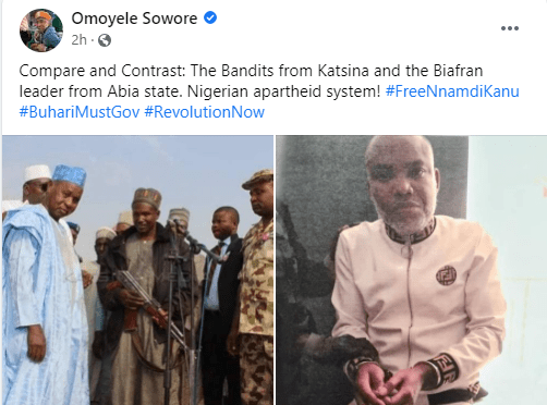 Nigerian apartheid system - Omoyele Sowore says as he shares photos of how Nnamdi Kanu was paraded and how bandits are allegedly treated in Katsina