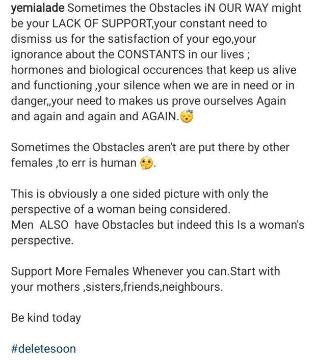 Yemi Alade starts debate after posting about the obstacles women face trying to reach their goals