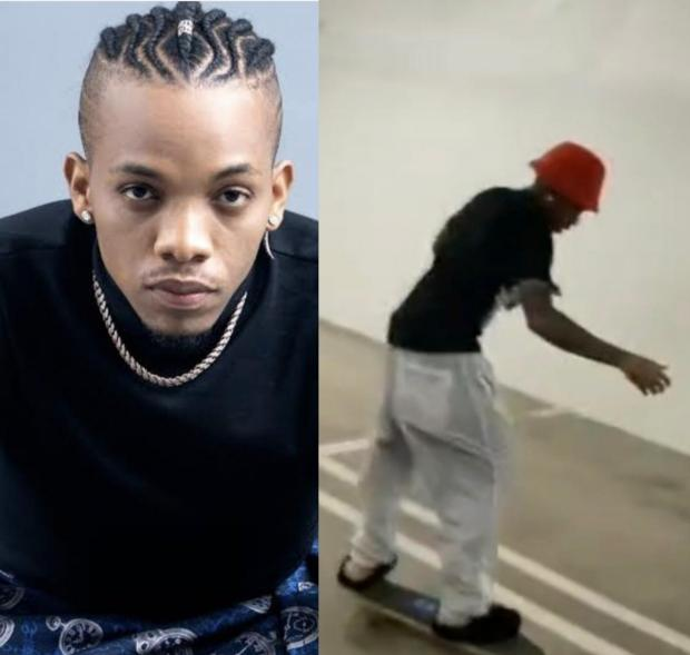 See what happened to singer, Tekno, when he tried skating for the first time (video)