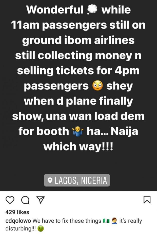 CDQ rants about flight delay after his flight meant for 11am still hadn