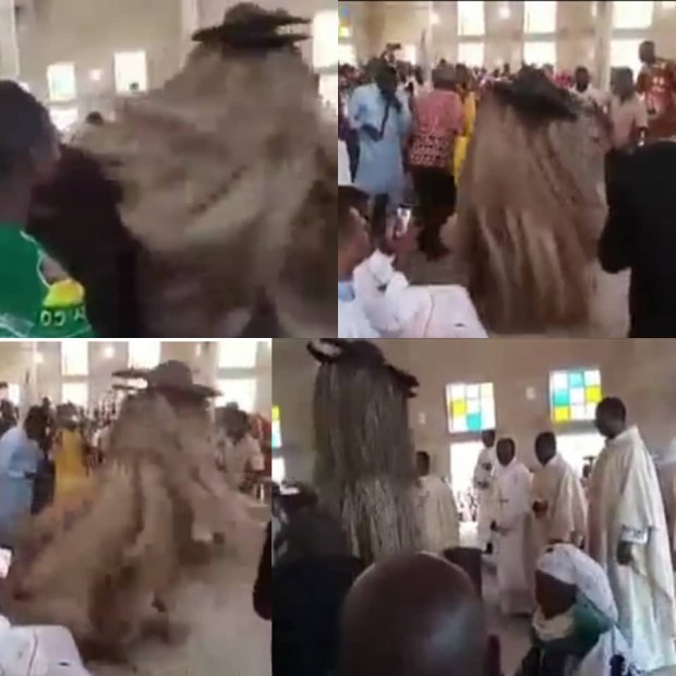 Nigerians react as video of Masquerade dancing inside a church in Nigeria surfaces online