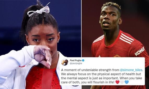 Manchester United midfielder Paul Pogba offers support to Simone Biles after she pulled out of her individual final at Tokyo 2020 to focus on her mental health