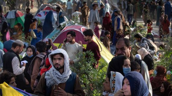 Displaced Afghans arrive at a makeshift camp from the northern provinces desperately leaving their homes behind on August 10, 2021 in Kabul, Afghanistan.