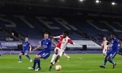 Match action from Leicester v Slavia Prague