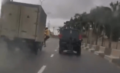 LASTMA official falls off a moving truck while trying to arrest the driver (video)