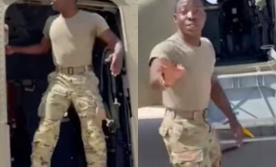 Hilarious video of Lagos-raised US military officer pretending to be a Lagos bus conductor while on a US military jet