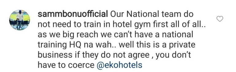 Commotion as Eko Hotel staff tries to prevent Super Eagles players from training (video)