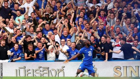Romelu Lukaku celebrates