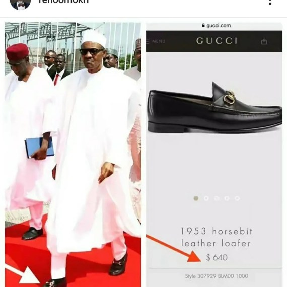 Buhari wears $640 Gucci shoes to beg for loans from countries whose Presidents wear $100 shoes - Reno Omokri