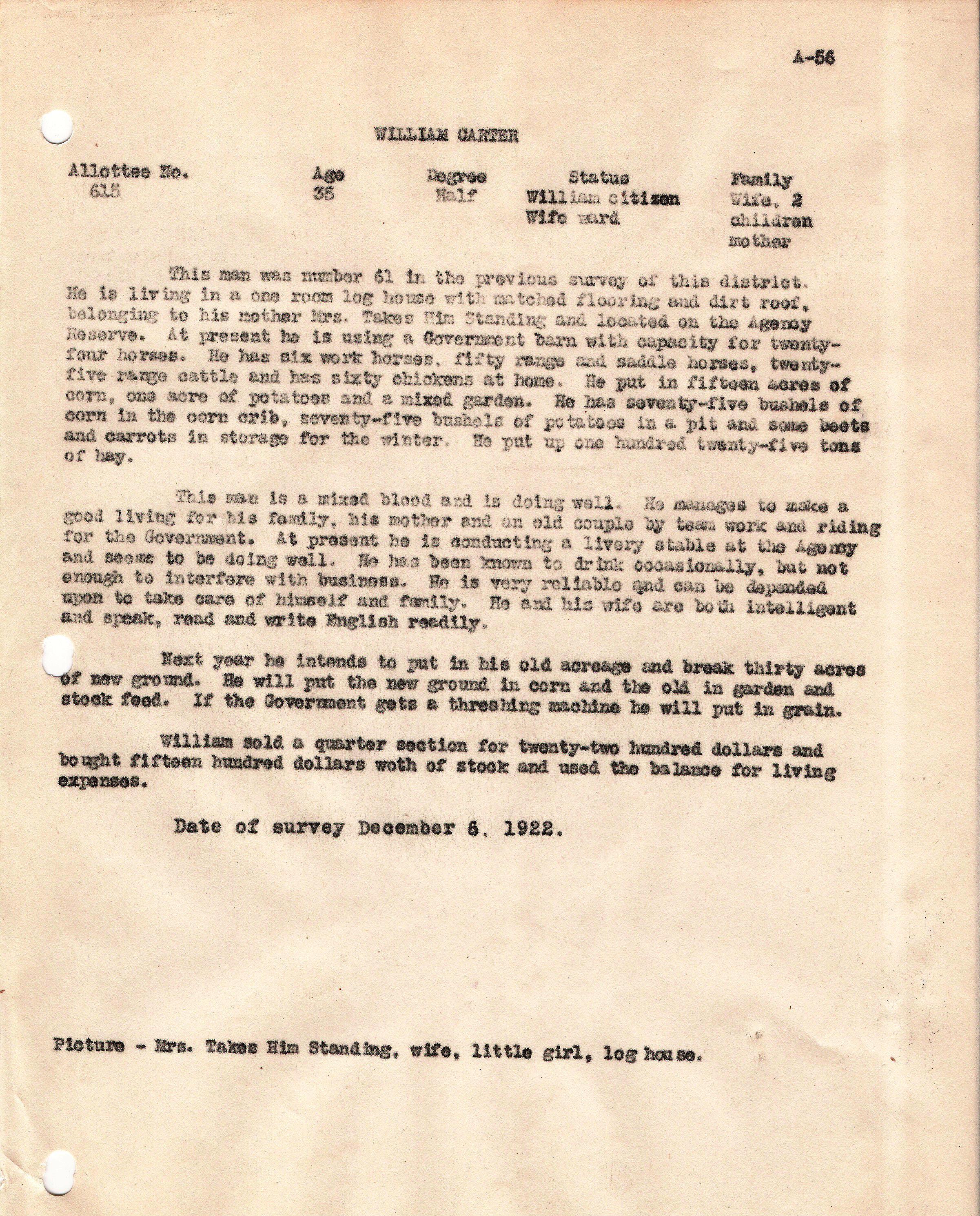 William Carter narrative survey 1922