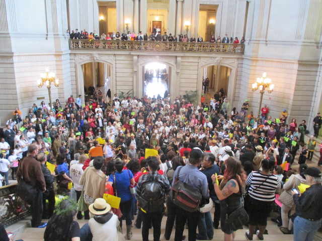 Protesters call for a Mission Moratorium at City Hall