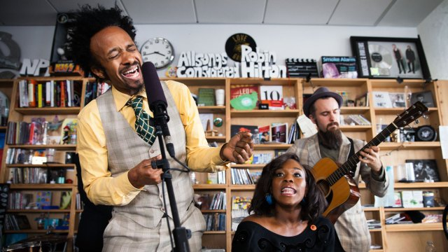 Fantastic Negrito, whose NPR Tiny Desk concert blew everyone away last year, performs at a block party, as part of Megapolis Audio Festival.