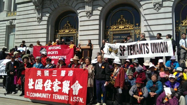 Tenants rally for Sup. Jane Kim's anti-eviction legislation, which has its first hearing Monday/27