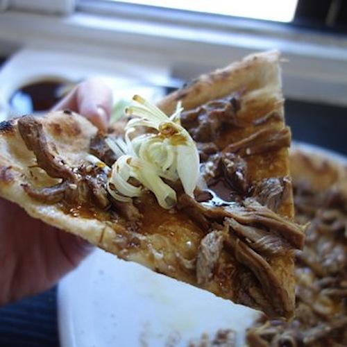 Mozzeria's Peking duck pizza, yum.