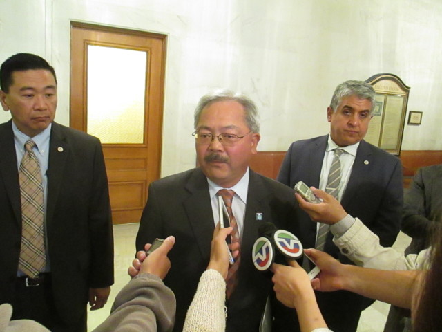 The real Question Time: Reporters converge on Mayor Lee as he leaves the Board Chambers