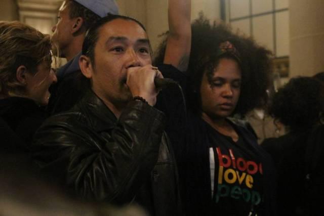 "Protestors Chant ""Fire Police Suhr"""