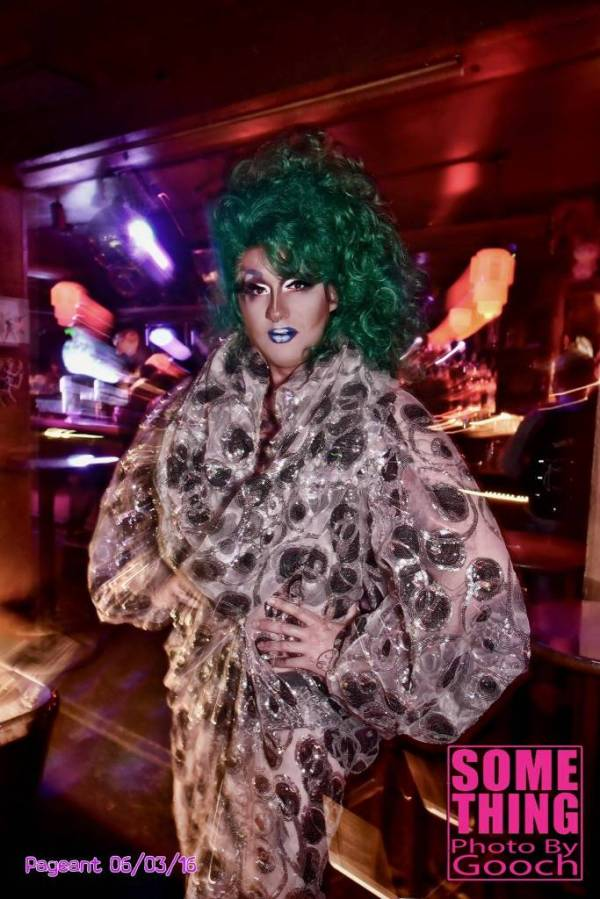 Mica Sigourney as VivvyAnne ForeverMore, hostess of the weekly Friday Club Some Thing drag night.