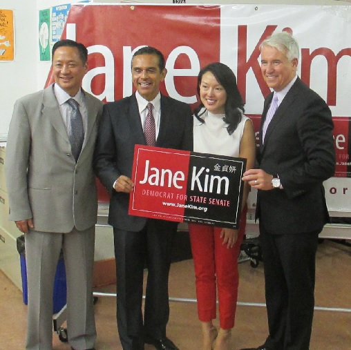 Jane Kim poses with SF Public Defender Jeff Adachi, former LA Mayor Antonio Villaraigosa, and DA George Gascon