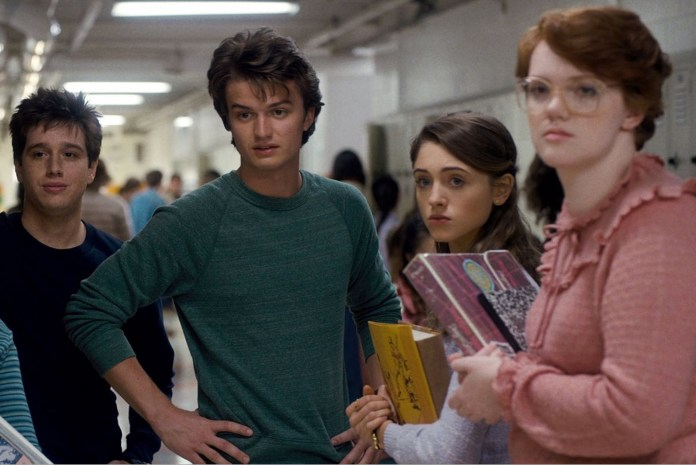 "The teens of Hawkins Hight in ""Stranger Things"""