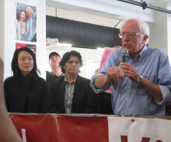 Sen. Bernie Sanders at the Jane Kim rally with Kim and D11 candidate Kimberly Alvarenga