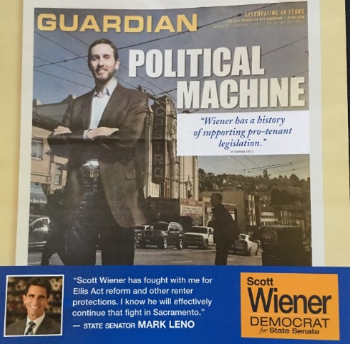 Here's the mailer Wiener sent out; looks like the Bay Guardian loves him and so do tenants!