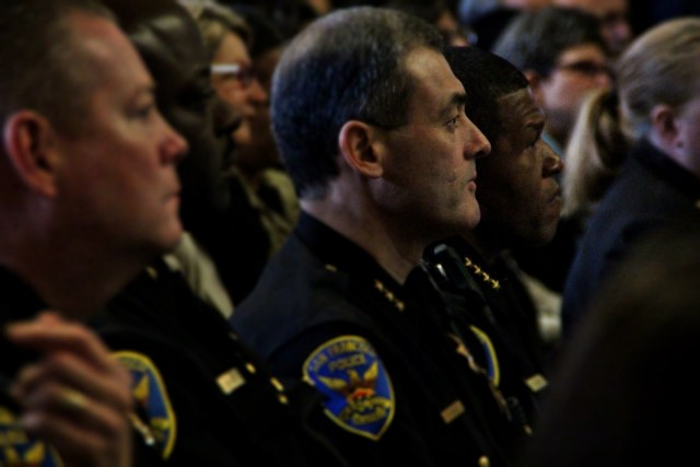 Chief William Scott and Assistant Chief Hector Sainezs listen to the he Mayor's state of the city address on Thursday January 26th 2016. Photo by Sana Saleem.