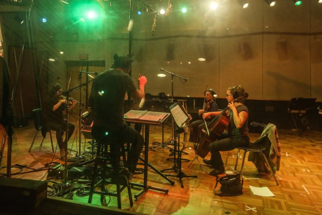 "Members of Awesome Orchestra recording ""When I'm Sixty-Four."" Photo by Cristina Isabel Rivera."