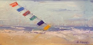 Kites over Assateague by Annie Sieling, oil