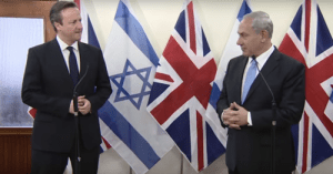 Israeli Prime Minister Benjamin Netanyahu, right, and British Prime Minister David Cameron. Photo: YouTube.