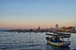 A boat off the Gaza port. Photo: Wikimedia Commons.