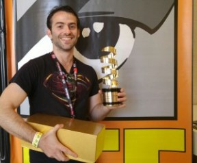 'Underground' director Amit Ruderman posed with his award in a photo posted on Facebook. Photo: Facebook.