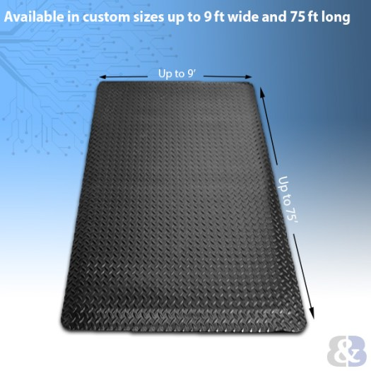 Custom Anti Static Floor Mats are available up to 9 feet wide and 75 feet long.