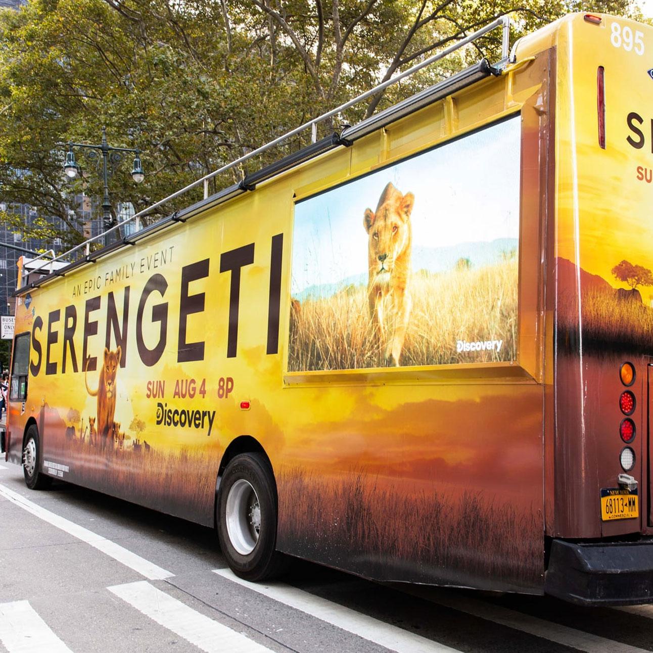 Serengeti bus in Midtown Manhattan NY