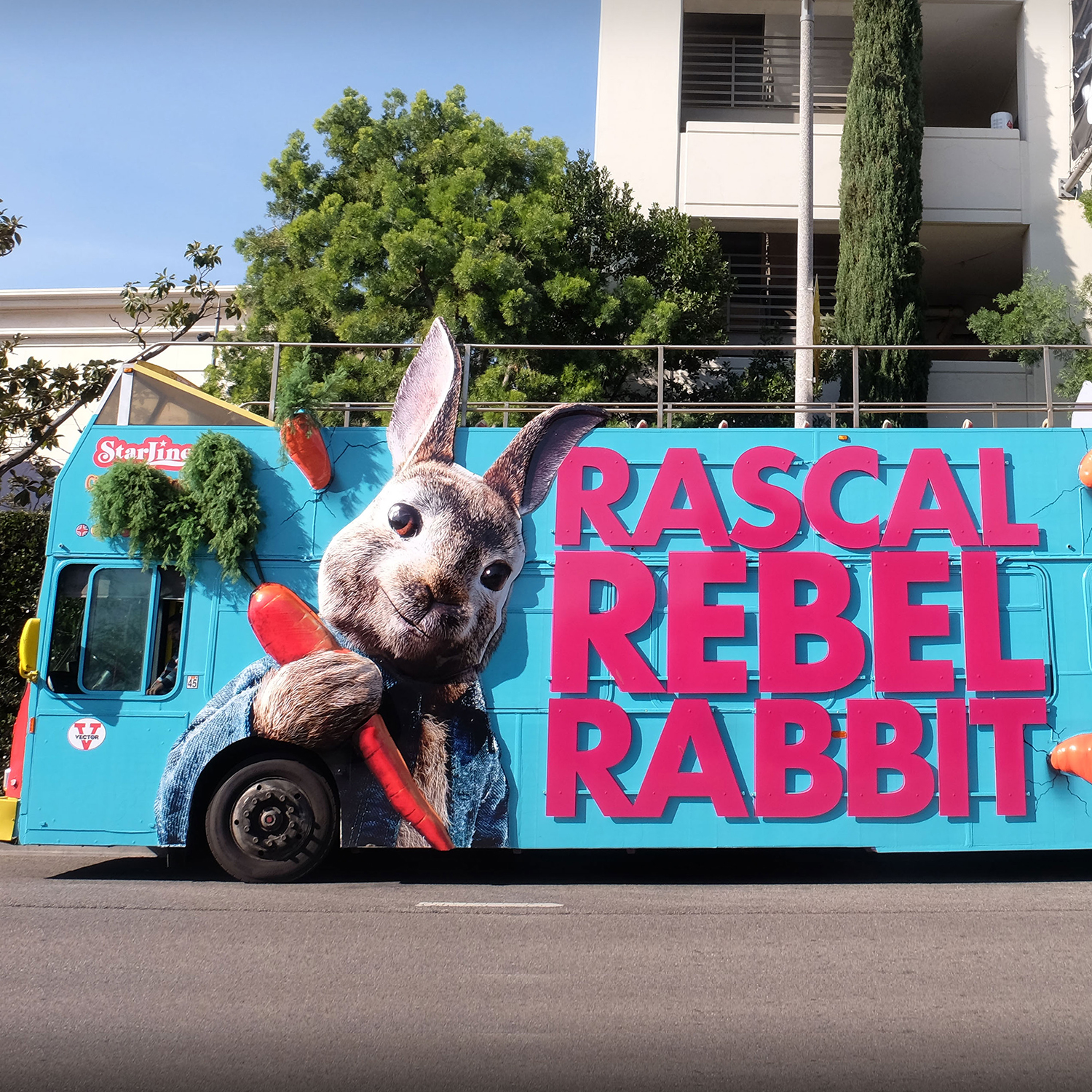 Peter Rabbit bus on the road